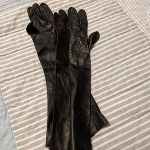 Vintage black long Italian leather gloves